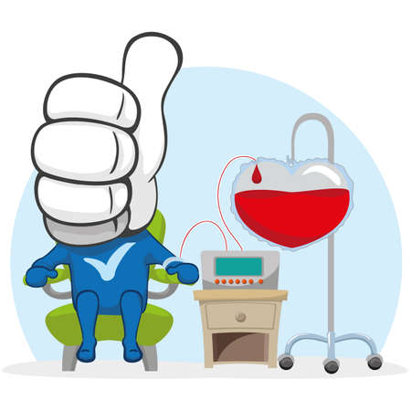 Mascot like illustration, donating blood. Ideal for raising awareness and encouraging blood donation