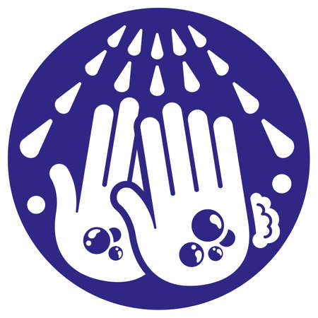 Pictogram icon washing and sanitizing hands. Ideal for prevention and health campaigns Ilustração