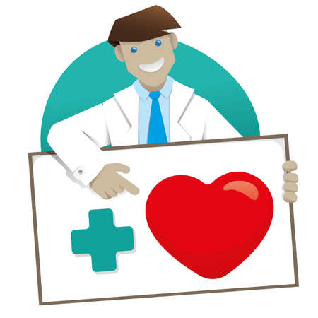 Illustration representing a doctor or surgeon holding a sign with the message More Love. Ideal for training and institutional matters