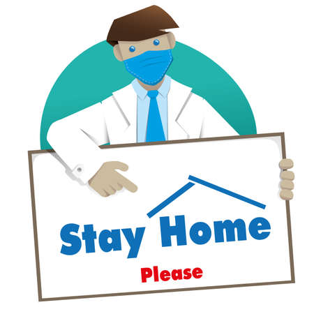 Illustration representing a doctor with Stay at Home message. Ideal for quarantine and pandemic prevention corona virus covid-19