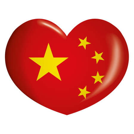 Icon representing heart button flag of China. Ideal for catalogs of institutional materials and geography