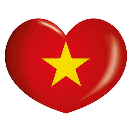 Icon representing heart Vietnam flag. Ideal for catalogs of institutional materials and geography