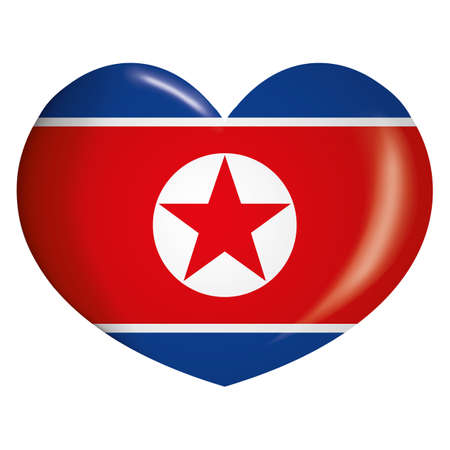 Icon representing heart button flag of North Korea. Ideal for catalogs of institutional materials and geography Ilustração