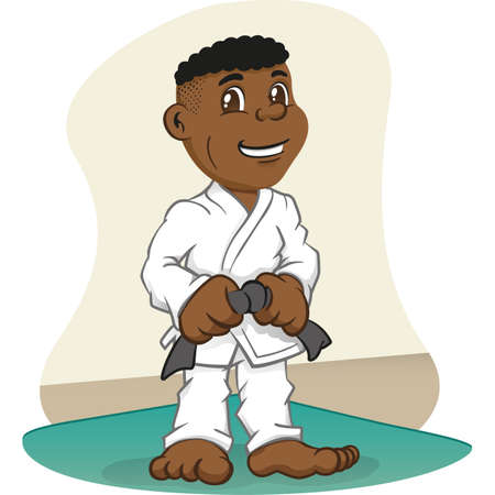 Illustration Afro-descendant child fighter in martial arts, judo, karate, jujitso, taekwondo. Ideal for sports and institutional newsletters