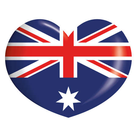Icon representing heart button flag of Australia. Ideal for catalogs of institutional materials and geography Ilustração