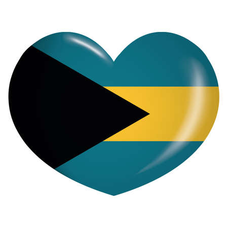 Icon representing heart button flag of Bahamas. Ideal for catalogs of institutional materials and geography