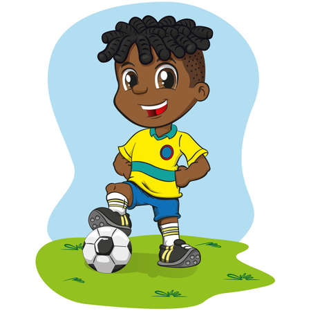 Afro-descendant boy soccer player illustration in uniform. Ideal for sports and institutional equipment