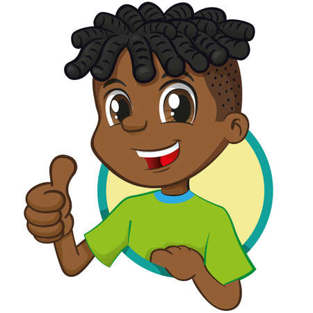 Boy illustration african descent, signaling ok, ok, right. Ideal for institutional and promotional materials