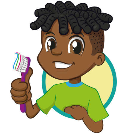Illustration of a smiling Afro-descendant boy holding a toothbrush encouraging oral hygiene. Ideal for educational institutional campaigns Ilustração