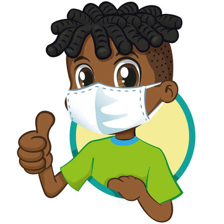 Afro-descendant student child with mask to prevent contagion. Ideal for medical, institutional and educational subjects Ilustração