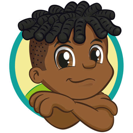 African descendant boy, hunched over smiling. Child with happy expression. Ideal for institutional and promotional materials