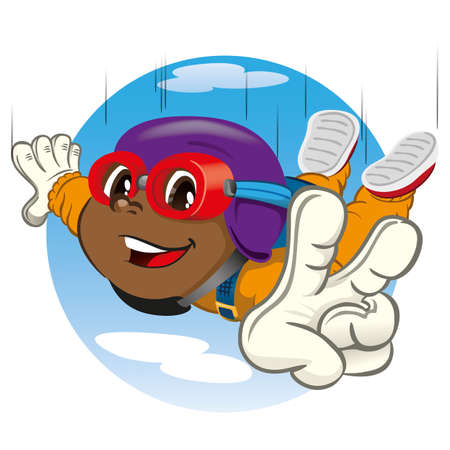 Afro-descendant boy child illustration parachuting. Ideal for materials about extreme and institutional sports Ilustração