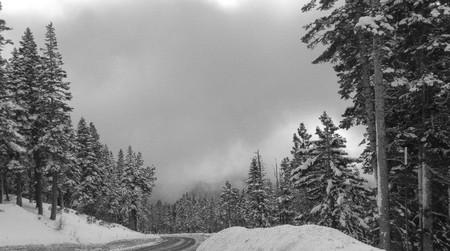 nevada: snowy winter ride in Sierra Nevada Mountains, Nevada USA Stock Photo