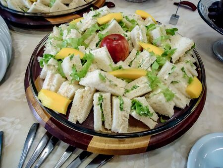 Sandwiches and apple on a table for lunch | Sandwiches and apple on a table for lunch