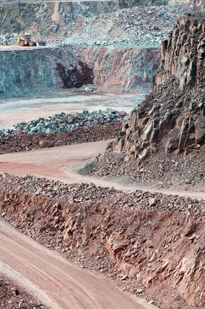 view in a surface mine quarry. mining industry.
