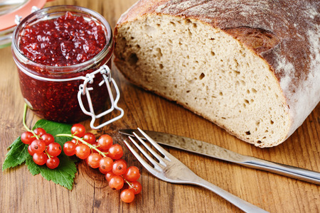red currant: red currant jam and fresh bread