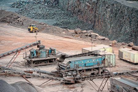 open pit: Stone Crusher Machine in an open pit mine