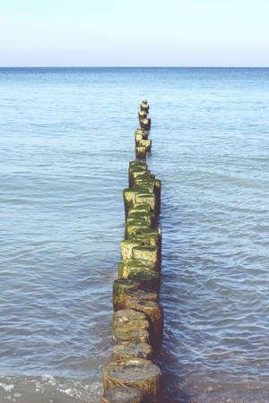 groyne: Beach landscape of Darss peninsula (Mecklenburg-Vorpommern) with typical groyne Stock Photo
