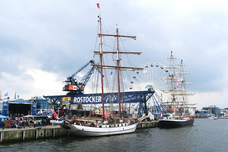 ROSTOCK, Mecklenburg-Vorpommern GERMANY AUGUST 13 2016: Hansesail in Warnemuende and Rostock harbor with lots of sailing ship from all over the world. Editorial