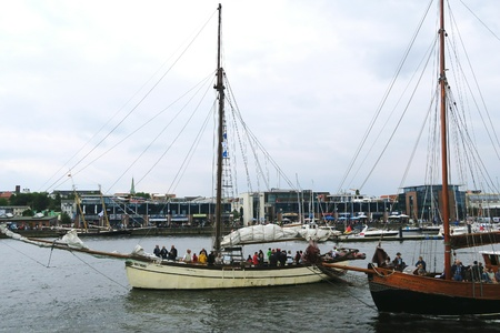 rostock: ROSTOCK, Mecklenburg-Vorpommern GERMANY AUGUST 13 2016: Hansesail in Warnemuende and Rostock harbor with lots of sailing ship from all over the world. Editorial