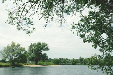 sandbank: Havel river with natural sandbank on other side. Havelland, germany. vintage retouch