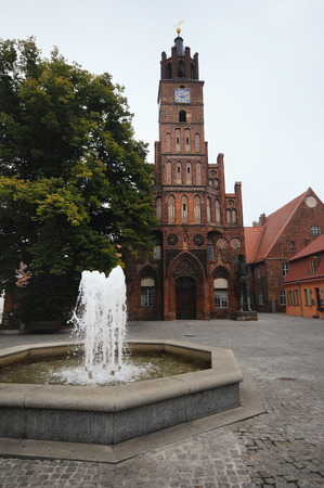 old town hall: old town hall of Brandenburg an der Havel (Germany) with the ancient roland statue. Stock Photo