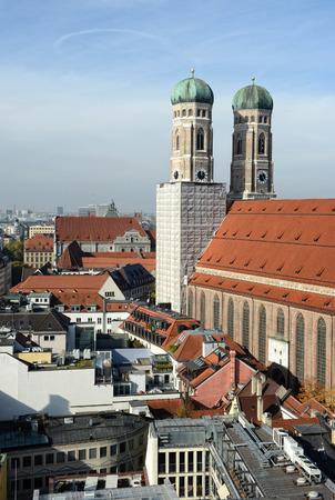 frauenkirche: Frauenkirche at Munich next to Marienplatz (Germany) Stock Photo
