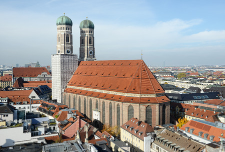 frauenkirche: MUNICH, BAVARIA GERMANY October 28 2015: Cityscapse of Munich with the Frauenkirche church. Located next to Marienplatz. Stock Photo