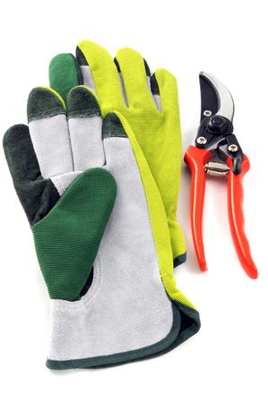 garden equipment like gloves scissors on white isolated background 스톡 콘텐츠