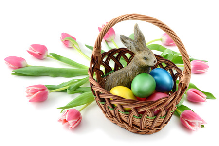 easter rabbit in a basklet with easter eggs and tulips on white isolated background.