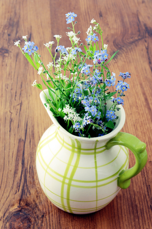 forget me not flower on antique milk can. Stock Photo