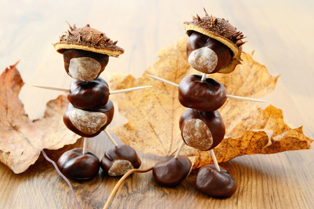 tinker little chestnut figures auf nuts and leaves.