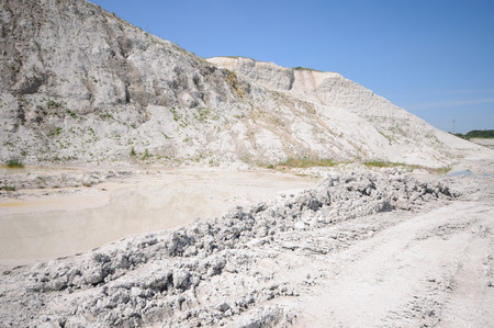 dredging: Equipment in a chalk quarry. mining industry