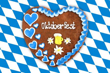 checked: Oktoberfest Gingerbread heart with bavarian white blue flag