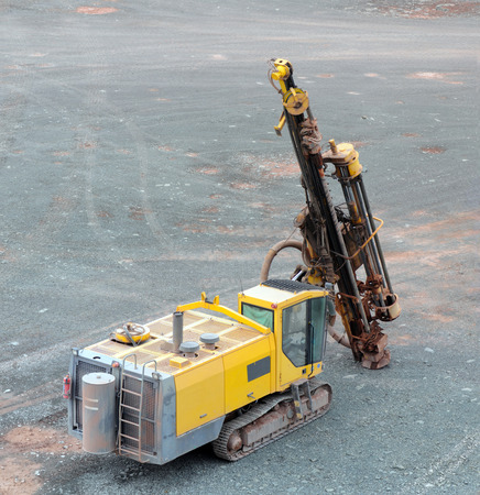 Driller in a quarry mine. mining industry.