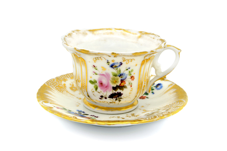 antique biedermeier time coffee cup on white isolated background 스톡 콘텐츠