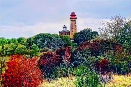 Lighthouse at Kap Arkona on Rugen island (Germany). graphical effect on a photo. Stock Photo