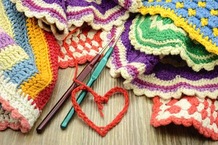 Crocheting colorful oven cloth. handmade. love crochet.