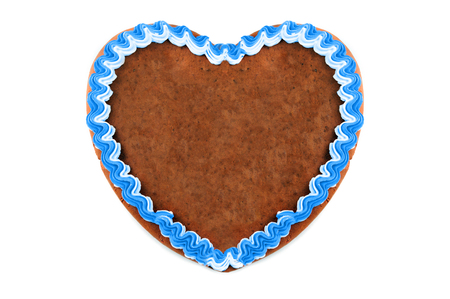 empty copy space Oktoberfest Gingerbread heart on white isolated background