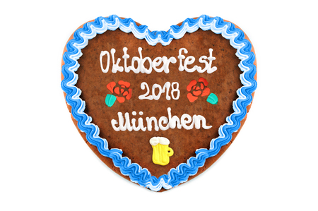 Oktoberfest Munich 2018 Gingerbread heart at white isolated background.