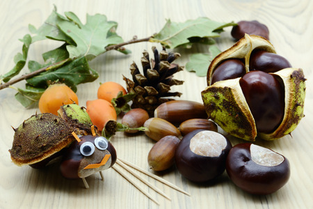 Autmn tinker with chestnut and acorn bug figures in autumn time. childhood tinker. Stockfoto