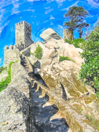 Illustration of old Castle of the Moors at Sintra in Portugal