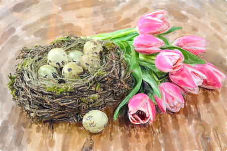 Watercolor illustration of Quail Easter eggs in nest with bunch of pink tulips wooden background. Imagens