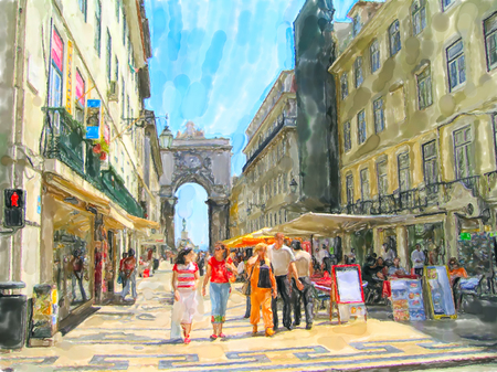 Illustration of Cityscape of Lisbon district Baixa with its stores and houses. People walking around. Stock Photo