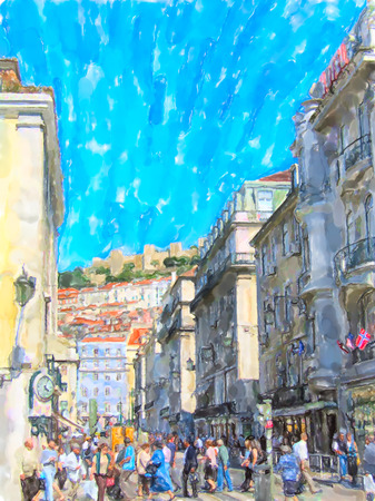 Illustration of Cityscape of Lisbon district Baixa with its stores and houses. People walking around. Stockfoto
