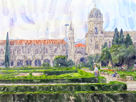 Water color illustration of the Hieronymites Monastery in Lisbon Portugal. In front small garden area.