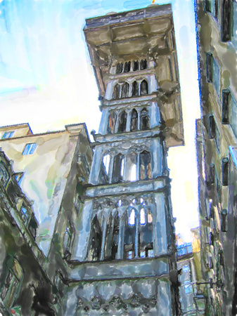 Water color illustration of Old Santa Justa Lift in Lisbon district chiado. Lisbon is capital of Portugal.