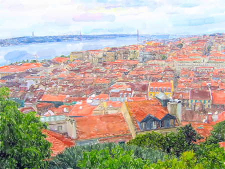 Illustration of Lisbon. Aerial view over districts Baixa Chiado til Belem with the Bridge at Tejo river.