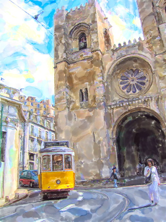 Illustration of vintage tram in lisbon district names Alfama at Cathedral Se. Stockfoto