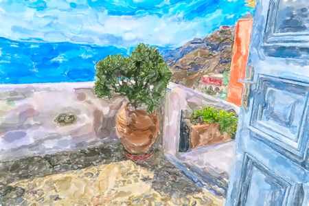 Watercolor illustration of Greek Island Santorini town Fira. Open door with flower pot and view into the caldera of Santorini. Stock Photo
